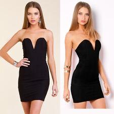 STUNNING Little Black Dress Bodycon Sweetheart Strapless Plunge Evening Dress