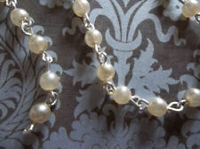 4mm Ivory Cream Glass Pearls Bead Chain Silver Rosary Chain - Qty 18 inch strand