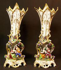 B 19èm porcelaine Paris paire grands vases scène d'un couple d'élégants 4.4kg44c