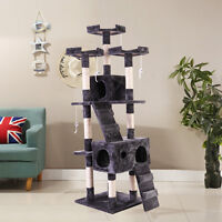 """66"""" Cat Tree  Furniture Scratching Tower Condo Post Pet Kitty Playhouse Gray"""