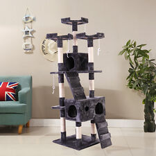 """67"""" Cat Tree  Furniture Scratching Tower Condo Post Pet Kitty Playhouse Gray"""