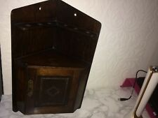 VINTAGE OAK CORNER WALL HANGING SMOKERS CABINET /PIPE RACK,WITH KEY, c1920s,