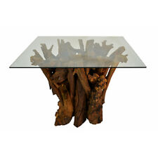 Dining Table Awesome Reclaimed Solid Teak Root Safety Glass 110cm Square