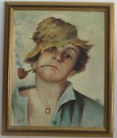 VINTAGE ITALIAN PORTRAIT OF YOUNG BOY SMOKING PIPE PAINTING O/C