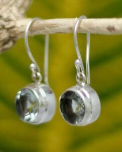 Handmade Solid Sterling Silver .925 Bali Round Dangle Earring w Blue Topaz Gems.