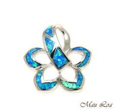 Argento Sterling 925 Rodio Hawaiano Plumeria Fiore Blu Opale a Scivolo Ciondolo