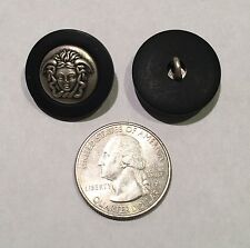 One Versace Medusa Head Brushed Silver and Dull Black Metal Button