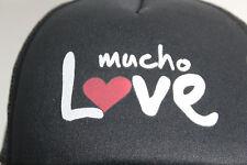 Vintage Mucho Love Black Trucker Hat Baseball Cap Double Row Snap Back