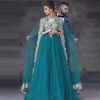 Muslim Arabic Dubai Evening Dresses Detachable Cape Lace Prom Pageant Party Gown