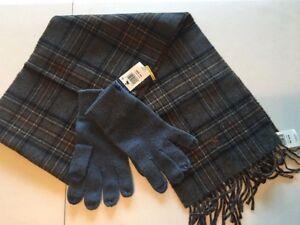 New Polo Ralph Lauren Men's Scarf Virgin Wool Knit Gloves Blue Touch Screen Set