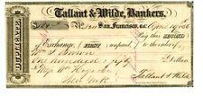 1856   San Francisco, CA. Bank Check/Bill of Exchange