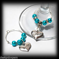 Beautiful Turquoise wedding wine glass charms for top table or favours decor