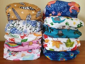 Alva Baby One Size Cloth Nappies With Microfiber Inserts Bulk Pack Choose Design