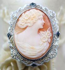 10K WHITE GOLD VINTAGE ESTATE & BLUE STONE CAMEO PIN
