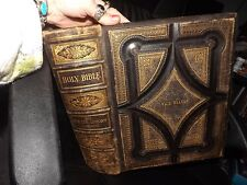 RARE 1873 HOLY BIBLE HAND SIGNED CALVIN E. STOWE 1800'S MACRAME CROSS ~ AND MORE