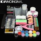 Glitter Powder Acrylic Liquid UV Gel Nail Art French Tips Clipper Brush Set Kit
