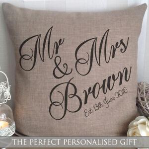 Mr and Mrs Personalised Cushion Wedding Anniversary Gift Valentines Day Keepsake