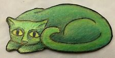 """Brooch Pin Jewelry Green 1.5X3.25"""" Kitty Cat"""