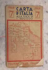 Vintage Touring Club Italiano Carta D' Italia Foglio 7. 1:500,000 1948
