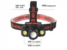 Head Torch/Head Lamp with USB lead for charging.