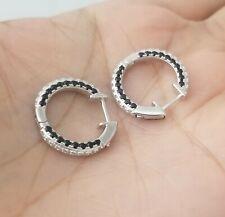 925 Sterling Silver Round White & Black Diamond Hoop Earrings