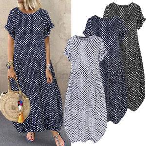 ZANZEA Women Casual Loose Baggy Long Maxi Sundress Kaftan Abaya Polka Dot Dress