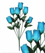 Lot of 144 Teal Poly Silk Closed Roses Wedding Home Decor Craft Flower Leaf
