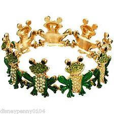 FROG Sitting Stretch Bracelet-Green Rhinestones Enamel Goldtone