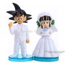 "DRAGON BALL/ SET GOKU & CHICHI BODA 8 CM- ANIME FIGURES WEDDING 3"" NO BOX"