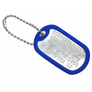 Military Dog Tag Stainless Steel Single Keychain, Emergency, Luggage Tag Set