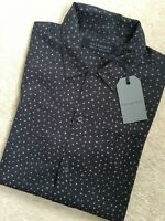 "ALL SAINTS MEN'S WASHED BLACK ""CLAM"" PATTERNED S/S SHIRT TOP - XS & S - NEW TAGS"