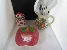 Apple Kitchen Lot Utensils Pitcher Canister and Plate