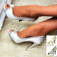 Womens Satin Shoes High Heel Peep Toe Rhinestone Bridal Evening Party Pumps Size