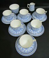 ANTIQUE ROYAL CROWN DERBY BLUE WILMOT PATTERN 20 PIECE TEA SET