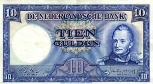 05 Netherlands / Niederlande P83 10 Gulden 1949