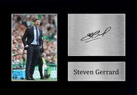 Steven Gerrard Signed A4 Framed Printed Autograph Glasgow Rangers Print Gift