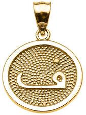"14k Yellow Gold Arabic Letter "" faa "" F Initial Charm Pendant"