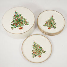 Vtg Otagiri Christmas Tree Coasters Lacquerware Set of 6 w/ Case Japan