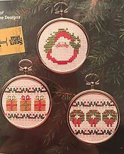 Factory Sealed WonderArt Christmas Counted Cross Stitch Three Ornaments # 5545