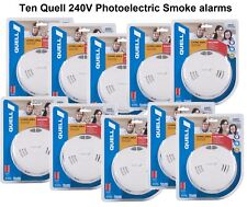 10 X Quell Photoelectric Smoke Alarms 240V Interconnect (10 units) 10Yr Warranty