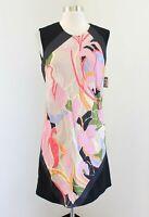 NWT Rachel Rachel Roy Bold Abstract Floral Print Shift Dress Size S Black Pink