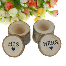 2pcs/set Wooden Rustic Wedding Engagements Ring Box Bearer Ring Holder Case