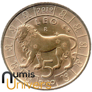 5 EURO SAINT-MARIN 2019 UNC - SIGNE DU ZODIAQUE, LION