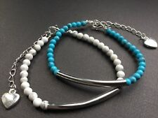 Bijoux Gemstone Beaded Bracelet With Heart White And Turquoise Beads  Boho