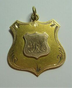 ANTIQUE ESTATE 9CT YELLOW GOLD MOOROOK  MEDAL FOB S.H.HEATH  C1921 ST #19102