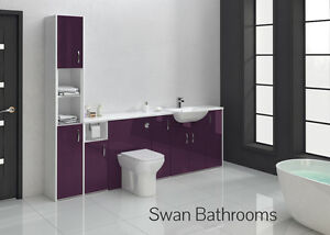 AUBERGINE GLOSS BATHROOM FITTED FURNITURE 2400MM WITH TALL UNIT