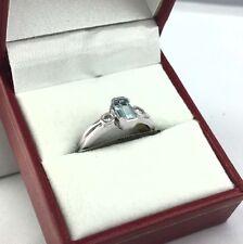 Genuine 0.78 Cts Aquamarine & Diamonds 14k White Gold Ring