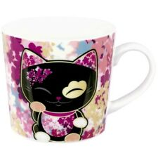 Mani Mug Tasse Chat japonais Maneki neko noir mauve rose The Lucky Cat 631