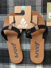 Reef Twisted Black Women's Flip-flops, (uk Size 6) Free Postage BNWT