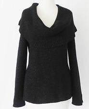 Boston Proper Sweater Black Metallic Cold Shoulder Large Draped Collar Size XS